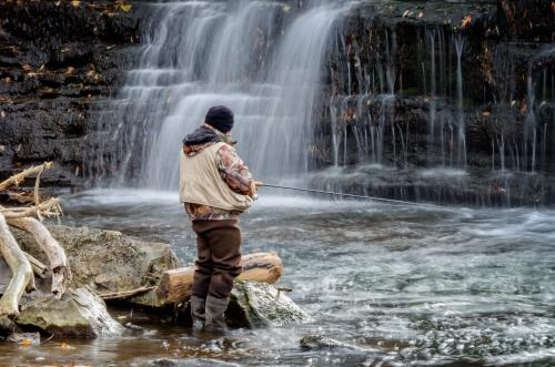 Fisherman at Glen Falls