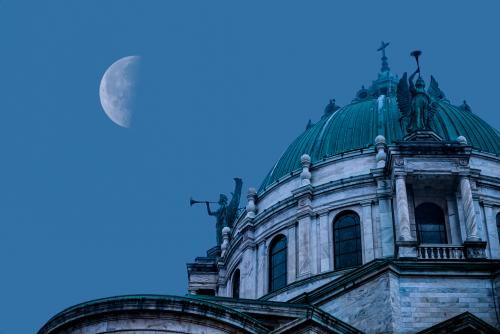 Moon at Our Lady of Buffalo Basilica